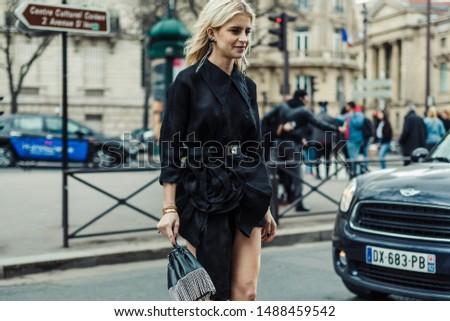 PARIS, FRANCE - MARCH 05, 2019: Caroline Caro Daur seen outside MIU MIU show, during Paris Fashion Week Womenswear Fall/Winter 2019/2020. #1488459542