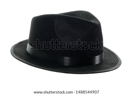 Michael Jackson black fedora hat isolated on a white background.  #1488544907
