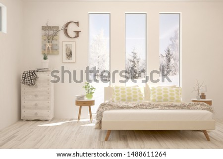 Stylish bedroom in white color with winter landscape in window. Scandinavian interior design. 3D illustration #1488611264
