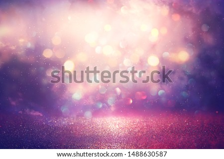 abstract glitter silver, purple, blue and gold lights background. de-focused #1488630587