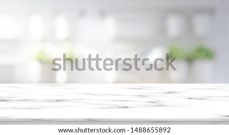 abstract blur interior luxury modern bathroom background with white marble counter tabletop for shpw,promote,ads product design on display  #1488655892