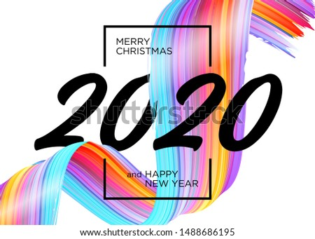 2020 Happy New Year Background Design. Vector Greeting Card with Abstract Gradient Brushstroke. Colorful Illustration for 2020 Christmas Calendar, Poster, Social Media Template. Xmas Design Element. #1488686195