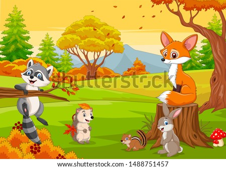 Cartoon wild animals in the autumn forest Royalty-Free Stock Photo #1488751457