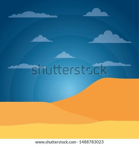 landscape desert sand sky light sun vector illustration #1488783023