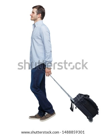 back view of walking  business man  with suitcase.  brunette guy in motion. backside view of person.  Rear view people collection. Isolated over white background.  #1488859301