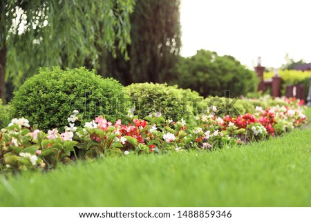 Picturesque landscape with beautiful green lawn on sunny day. Gardening idea #1488859346