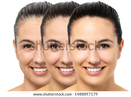 Close up portrait of conceptual young woman showing skin aging process. Three portraits of same girl with different ages and wrinkles. #1488897179