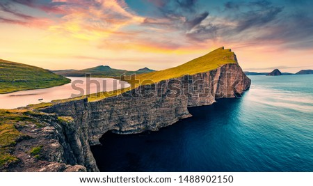 View from flying drone. Astonishing morning scene of Sorvagsvatn lake, Vagar, Faroe Islands, Denmark, Europe. Amazing summer sunrise on Atlantic Ocean. #1488902150