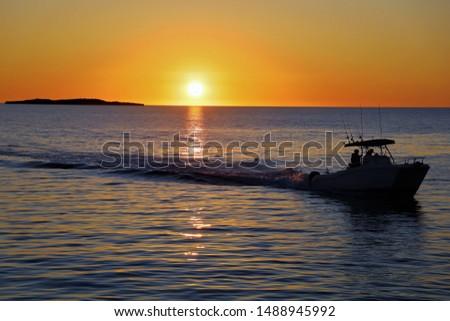 Ocean Sunset boat Jurien Bay Australia #1488945992