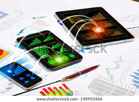 Image of working place with mobile phone, ipad and tablet PC