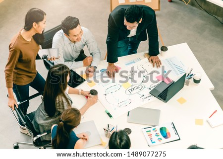 topview of creative agency business brain storm meeting presentation Team discussing roadmap to product launch, presentation, planning, strategy, new business development #1489077275
