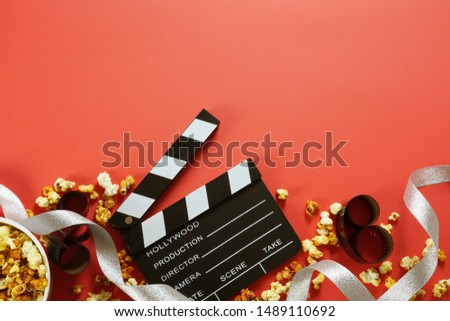 movie, cinema video concept. movie clapper board with copy space. #1489110692