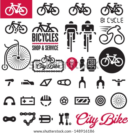 Bicycles. Isolated vector bike accessories set.
