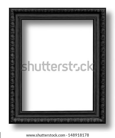 Old Antique Black  frame Isolated Decorative Carved Wood Stand Antique Black  Frame Isolated On White Background