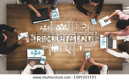 Human Resources Recruitment and People Networking Concept. Modern graphic interface showing professional employee hiring and headhunter seeking interview candidate for future manpower. Royalty-Free Stock Photo #1489203191