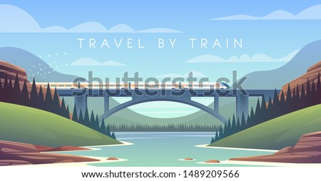 Flat vector web illustration on the theme of travel by train, steam locomotive, vacation, mountain landscape, railway, adventure. Sunny day. The bridge across the river.  #1489209566