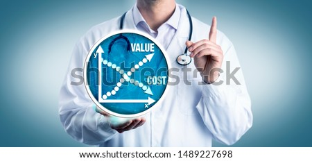 Young clinician representative advising to consider the cost versus value of medicine. Health care concept for economic cost-effectiveness analysis, driving down medical costs, improved access. #1489227698