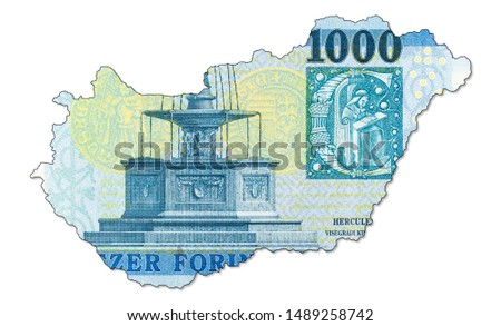 new 1000 hungarian forint banknote reverse in shape of Hungary #1489258742