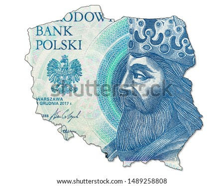 new 50 polish zloty banknote obverse in shape of Poland #1489258808