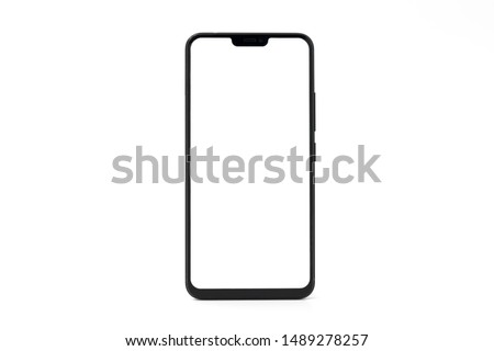 One black big screen blank smartphone isolated on white background #1489278257