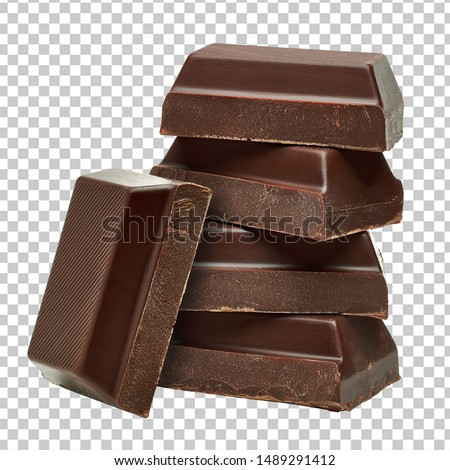 Broken milk chocolate bars stack isolated on transparent background