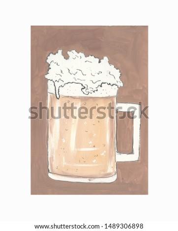 beer mug filled with light foam beer #1489306898