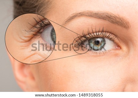 Close up of woman eye with wrinkles Royalty-Free Stock Photo #1489318055