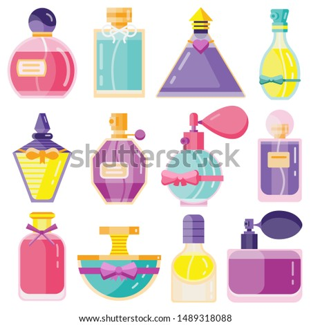Perfume bottles set. Fragrant liquids fashion glass containers in various shapes and colors. Toilette water collection. Scented cologne icons in flat design. Scents with pumps and sprayers. #1489318088