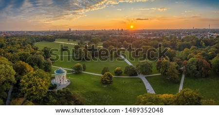 Aerial view at the early sunrise in the Englischer Garden of Munich, such a beautiful place in Bavaria, germany. #1489352048