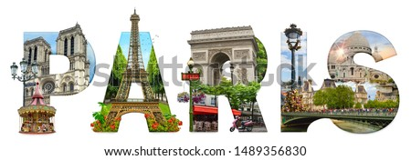 Paris city landmarks. Word illustration of most famous Paris monuments and places. Royalty-Free Stock Photo #1489356830