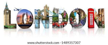 London city landmarks. Word illustration of most famous London m Royalty-Free Stock Photo #1489357307