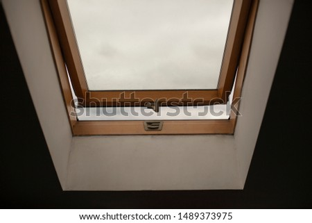 Window to the sky. Window under the ceiling. Open window to the roof. #1489373975