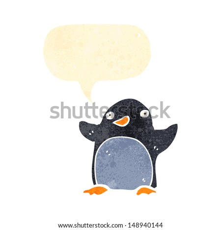 retro cartoon penguin with speech bubble
