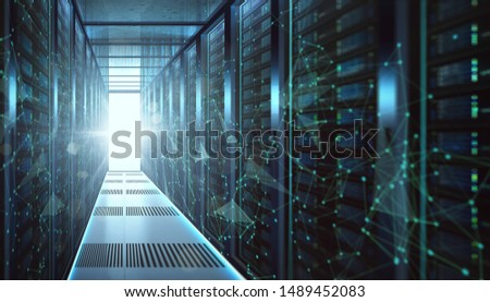 Abstract big data center storage with data connection visual effect . #1489452083