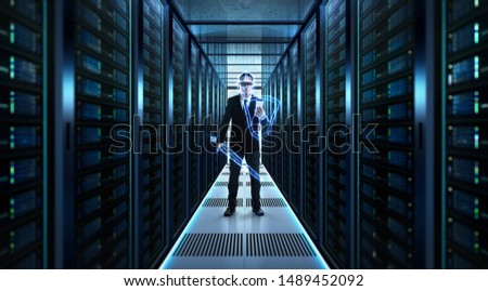 Thunder warrior Chief Engineer standing at server room . Protection, precaution and security in business big data technology concept . #1489452092