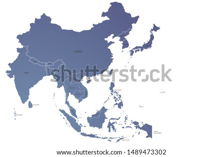 world map. graphic vector of asia countries. asia map.  Royalty-Free Stock Photo #1489473302