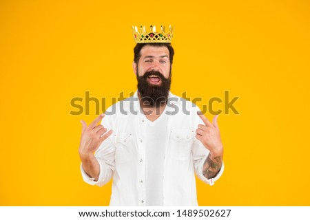 Superiority complex. Narcissistic person. Love yourself. Sense of self importance. Responsibility being king. Handsome bearded guy king. King crown. Egoist selfish man. Bearded man in white clothes. #1489502627