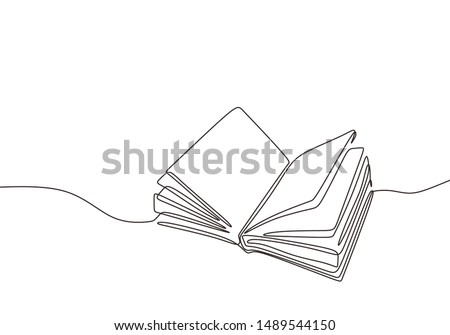Continuous one line drawing open book with flying pages. Vector illustration education supplies back to school theme. Royalty-Free Stock Photo #1489544150
