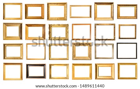 set of various old painting frames cut out on white background Royalty-Free Stock Photo #1489611440