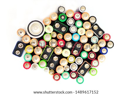 Battery Recycling Isolated On White Background Recycling batteries and battery recycling signs. Battery disposal. #1489617152