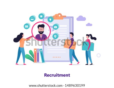 Recruitment concept. Idea of employment and human resources. Find candidate for a job. Vacant place. Vector illustration in cartoon style #1489630199