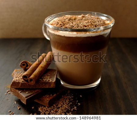 Hot chocolate with cream and cinnamon