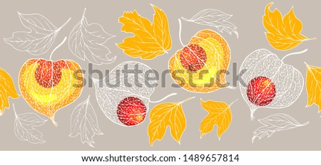 Physalis fruit and autumn leaves, seamless vector illustration #1489657814