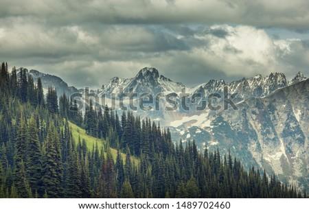 Beautiful mountain peak in  North Cascade Range, Washington / USA #1489702460