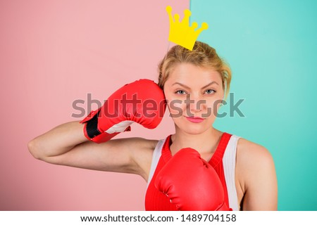 Become best in boxing sport. Feminine tender blonde with queen crown wear boxing gloves. Fight for success. VIP gym. Fighting queen. Woman boxing glove and crown symbol of princess. Queen of sport. #1489704158