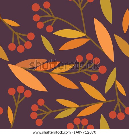 Seamless pattern with abstract and organic shapes. Autumn colors and fall leaves #1489712870