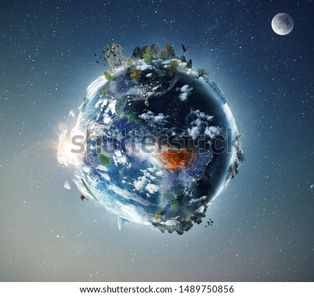 Amazon tropical forest in fire, conceptual photo manipulation of planet Earth. Elements of this image are furnished by NASA