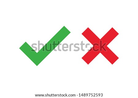 Checkmark cross on white background. Isolated vector sign symbol. Checkmark icon set. Checkmark right symbol tick sign. Flat vector icon. Test question. EPS 10 #1489752593