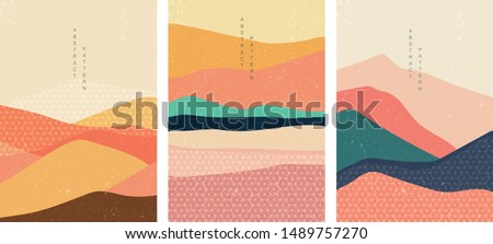 Landscape background with Japanese pattern vector. Mountain template with geometric elements. Wavy and flyer shape in oriental style. Sea in sunset backdrop.