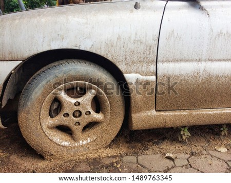 Car dirty with dust and dirty wheel #1489763345